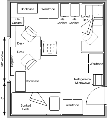 Baker hall west residence halls university housing Room layout design