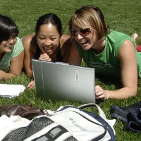 Friends Study and Have Fun on the Oval