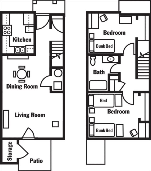 2-bedroom for 5 students (lower level on left, upper on right)