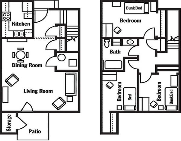 3-bedroom for 5 students (lower level on left, upper on right)
